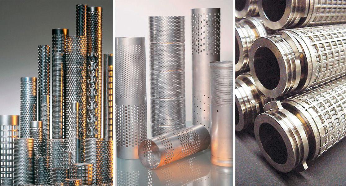 Филтрационни тръби и опорни тела от перфорирана ламарина, тръби за шумоизолация, изгорели газове, климатични и вентилационни системи, опорни тръби за филтърни патрони